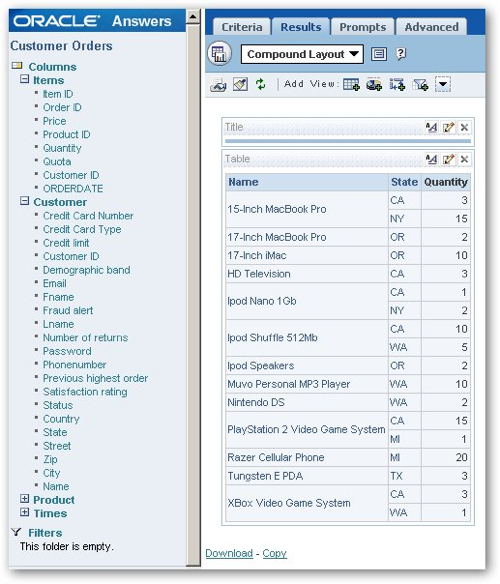 Creating Pivot Table-Specific Filters in Oracle BI Answers