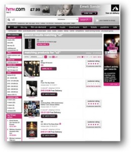 HMV website