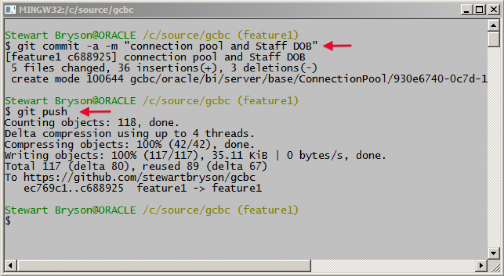 Git Commit Feature1