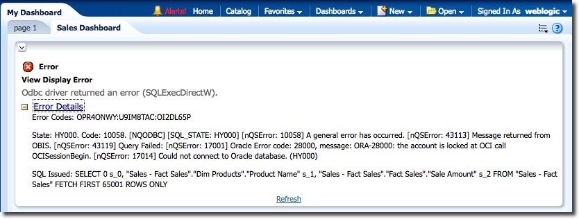 OBIEE Dashboard showing an error