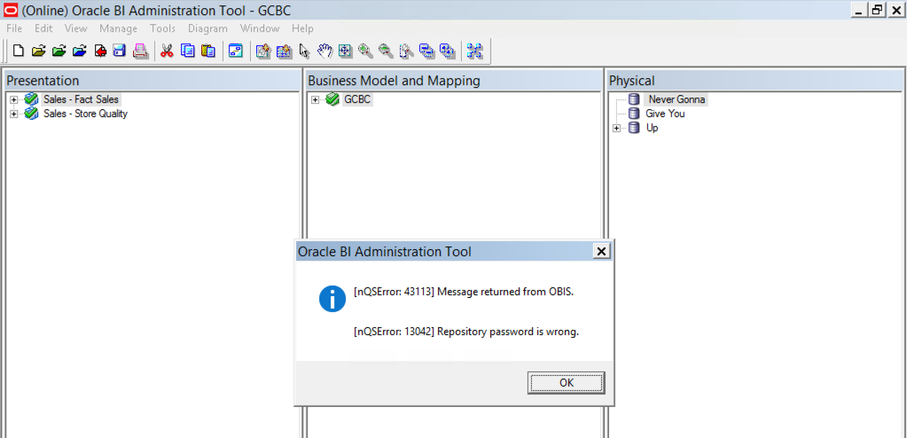 obiee 12c repository password corruption