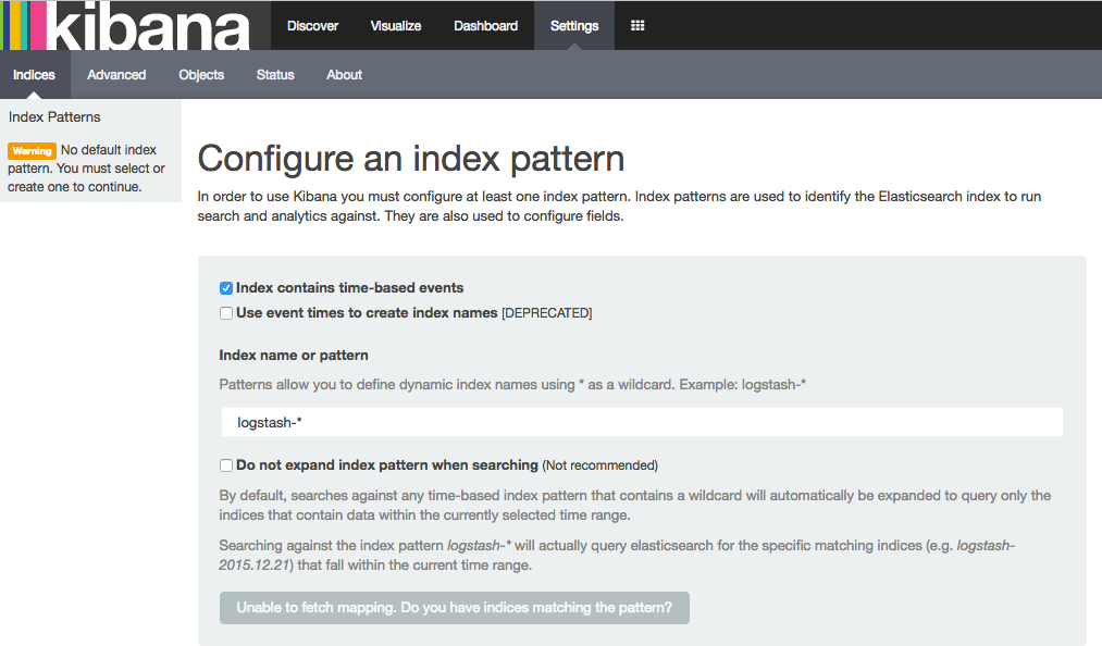 Kibana Configure an index pattern