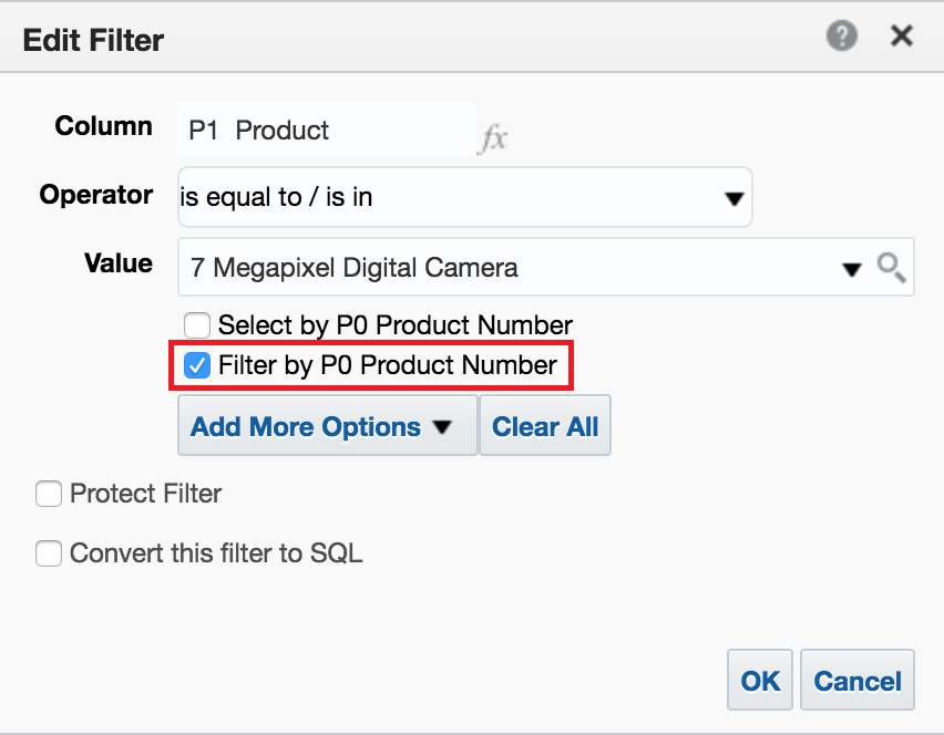 Filter by code values example