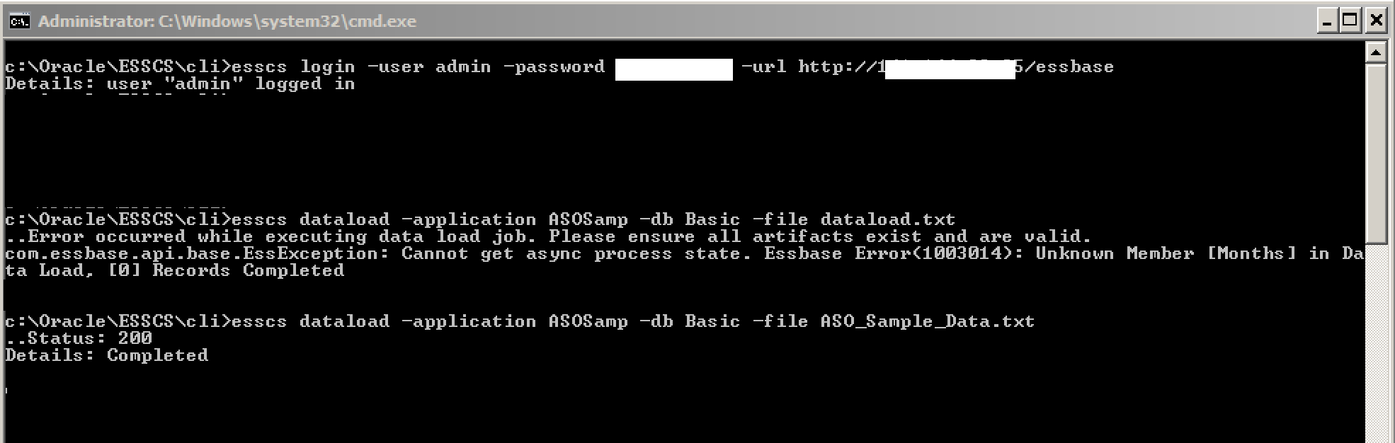 OAC: Essbase – Loading Data