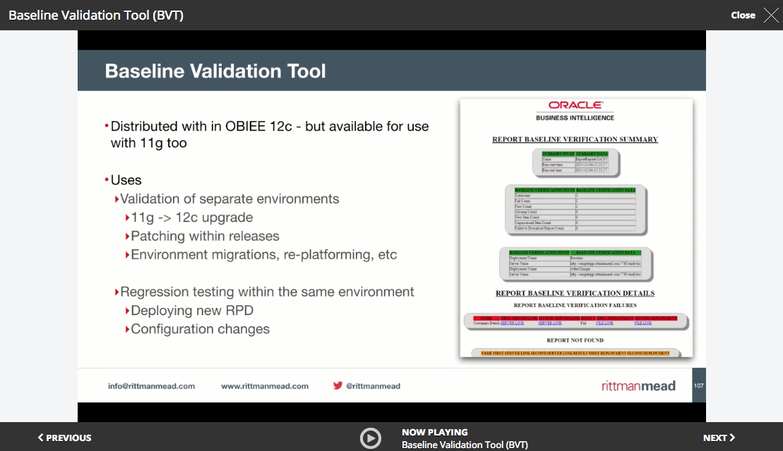 Baseline Validation Tool